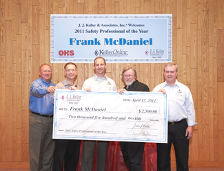 Frank McDaniel, 2011 KellerOnline Safety Professional of the Year Award Winner